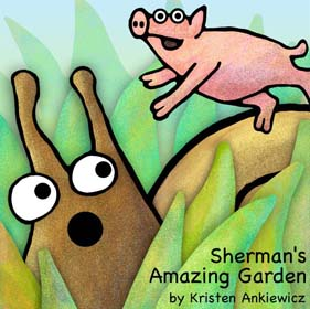 Perry the pig flies high over Sherman in the garden. This picture book has tons of colorfully detailed drawings.